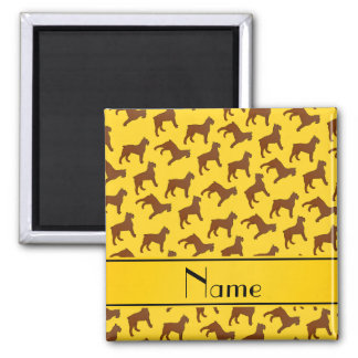 Personalized name yellow Bouvier des Flandres dogs 2 Inch Square Magnet