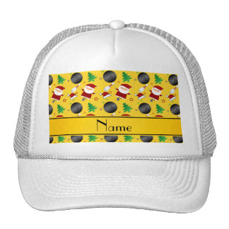 Personalized name yellow bowling christmas pattern trucker hat
