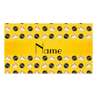 Personalized name yellow bowling pattern business card templates