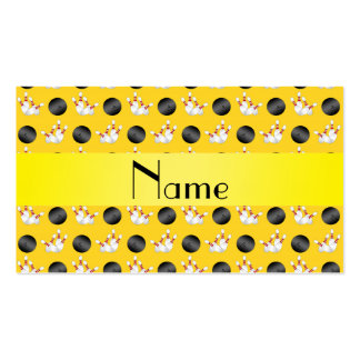 Personalized name yellow bowling pattern business cards
