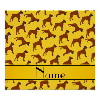 Personalized name yellow boxer dog pattern poster