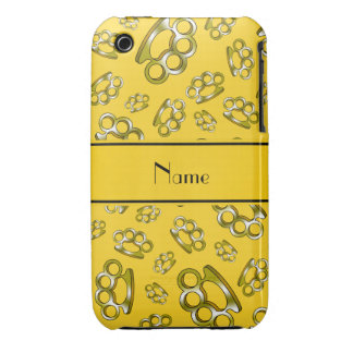Personalized name yellow brass knuckles Case-Mate iPhone 3 cases
