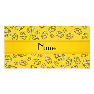 Personalized name yellow brass knuckles photo card