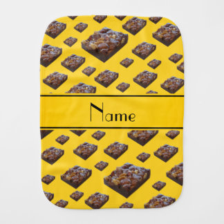 Personalized name yellow brownies burp cloths