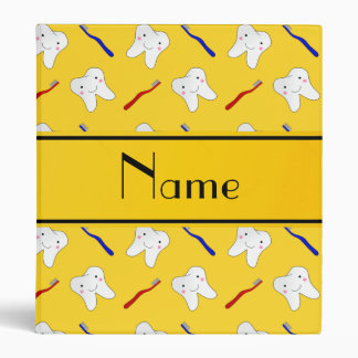 Personalized name yellow brushes and tooth pattern binders