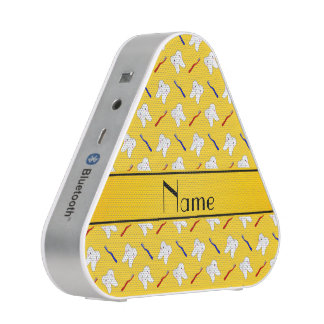 Personalized name yellow brushes and tooth pattern bluetooth speaker