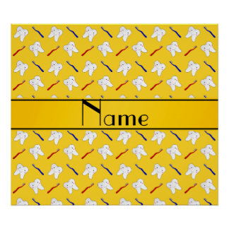 Personalized name yellow brushes and tooth pattern print