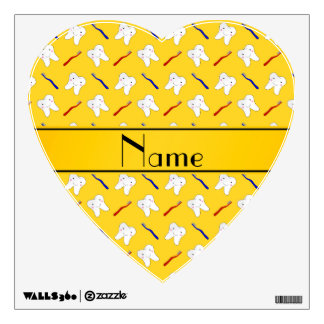 Personalized name yellow brushes and tooth pattern room stickers