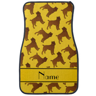 Personalized name yellow brussels griffon dogs car mat