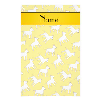 Personalized name yellow bull terrier dogs stationery