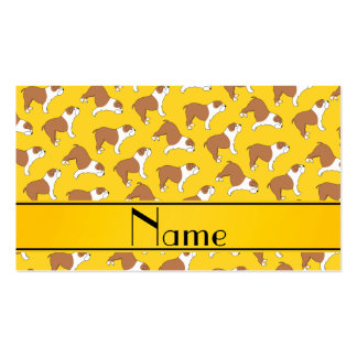 Personalized name yellow Bulldog Double-Sided Standard Business Cards (Pack Of 100)