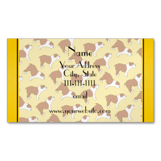 Personalized name yellow Bulldog Magnetic Business Cards (Pack Of 25)