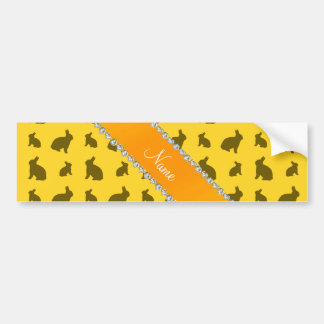 Personalized name yellow bunnies car bumper sticker
