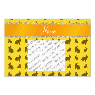 Personalized name yellow bunnies photo print