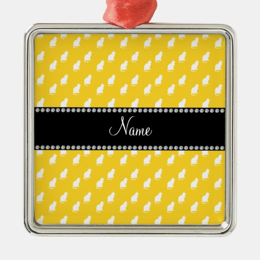 Personalized name yellow cat pattern christmas ornament