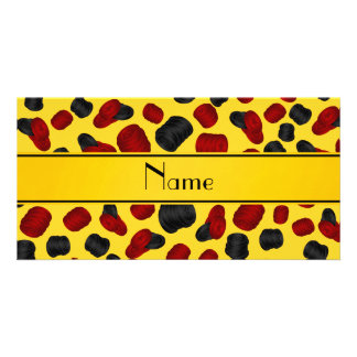 Personalized name yellow checkers game photo card