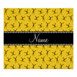 Personalized name yellow cheerleader pattern poster