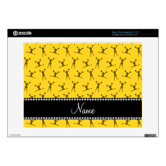 Personalized name yellow cheerleader pattern acer chromebook skin