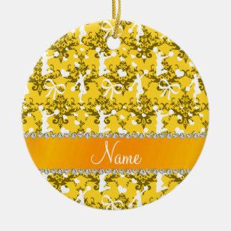 Personalized name yellow cheerleading damask ceramic ornament