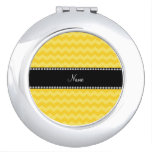 Personalized name yellow chevrons compact mirror