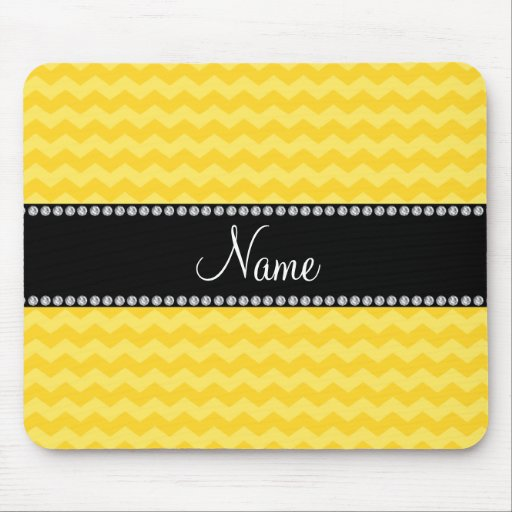 Personalized name yellow chevrons mouse pads
