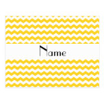 Personalized name yellow chevrons post card