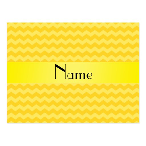 Personalized name yellow chevrons postcards