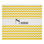 Personalized name yellow chevrons poster