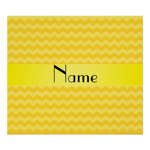 Personalized name yellow chevrons print