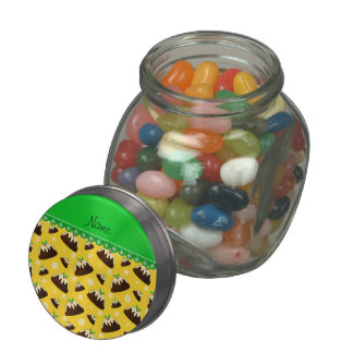 Personalized name yellow christmas pudding pattern jelly belly candy jar