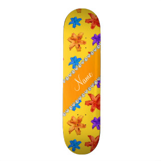 Personalized name yellow colorful lily flowers skate deck