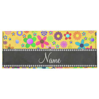 Personalized name yellow colorful retro flowers tyvek wallet