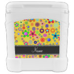 Personalized name yellow colorful retro flowers igloo rolling cooler