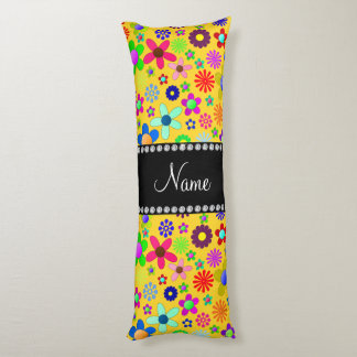 Personalized name yellow colorful retro flowers body pillow