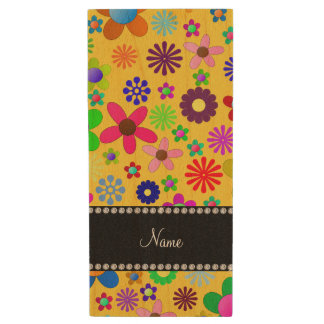 Personalized name yellow colorful retro flowers wood USB 2.0 flash drive