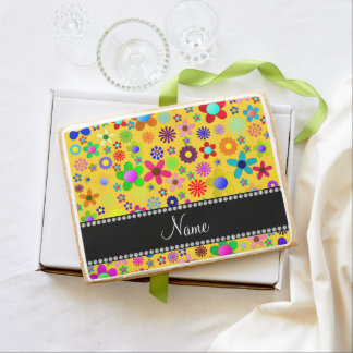 Personalized name yellow colorful retro flowers jumbo cookie