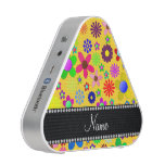 Personalized name yellow colorful retro flowers bluetooth speaker