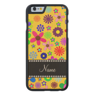 Personalized name yellow colorful retro flowers carved® maple iPhone 6 slim case