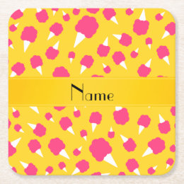 Personalized name yellow cotton candy square paper coaster