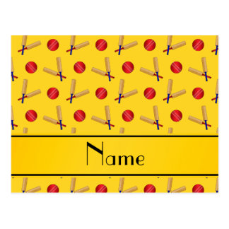 Personalized name yellow cricket pattern postcards