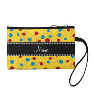 Personalized name yellow crochet pattern coin wallets