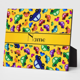 Personalized name yellow cute car pattern plaques