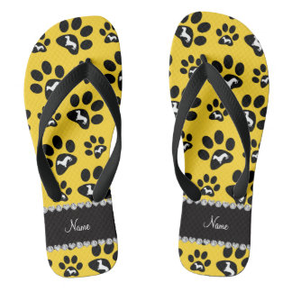 Personalized name yellow dachshunds dog paws flip flops