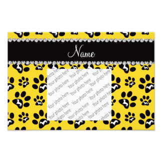 Personalized name yellow dachshunds dog paws photo print