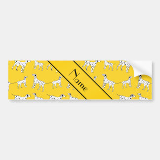 Personalized name yellow dalmatian dogs car bumper sticker