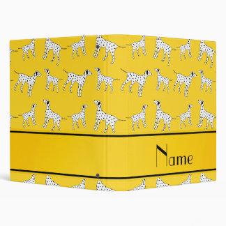 Personalized name yellow dalmatian dogs vinyl binder