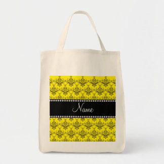 Personalized name Yellow damask Canvas Bag