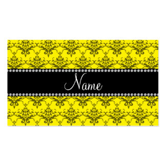 Personalized name Yellow damask Business Card Template