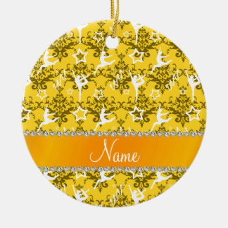 Personalized name yellow damask gymnastics ceramic ornament