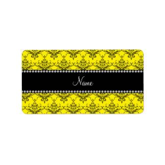 Personalized name Yellow damask Address Label